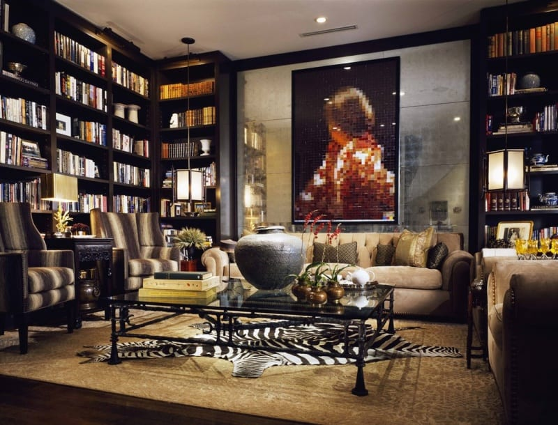 Black and Gold Home Library