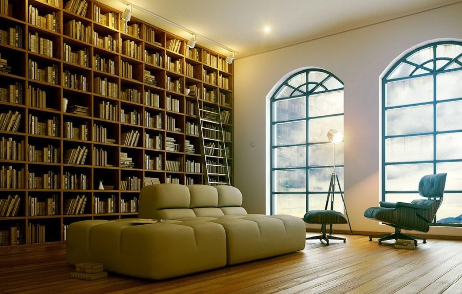 Home library lighting Extravagant Home View In Gallery Modern Home Library Trendir These 38 Home Libraries Will Have You Feeling Just Like Belle