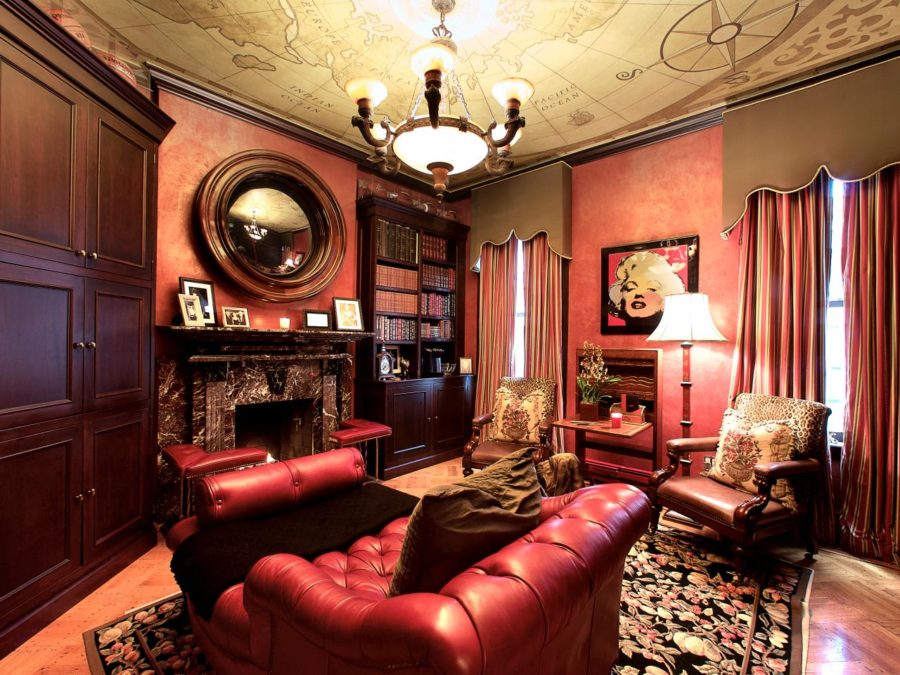 Red and Leather Home Library