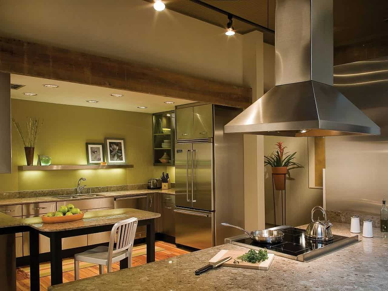 Apple Green with Natural wood ceiling planks
