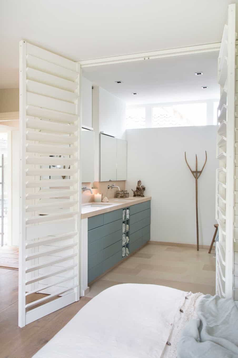Bathroom door shutters