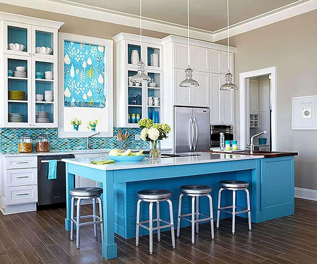 Blue and nuetral Kitchen with Dark Flooring