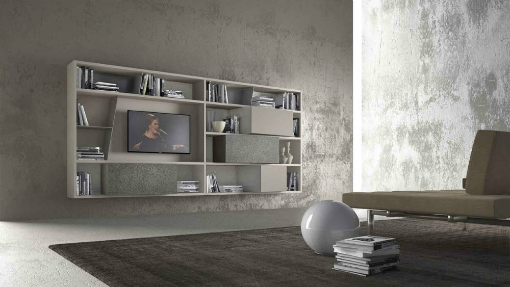 CrossART wall-mounted TV bookshelf from Presotto