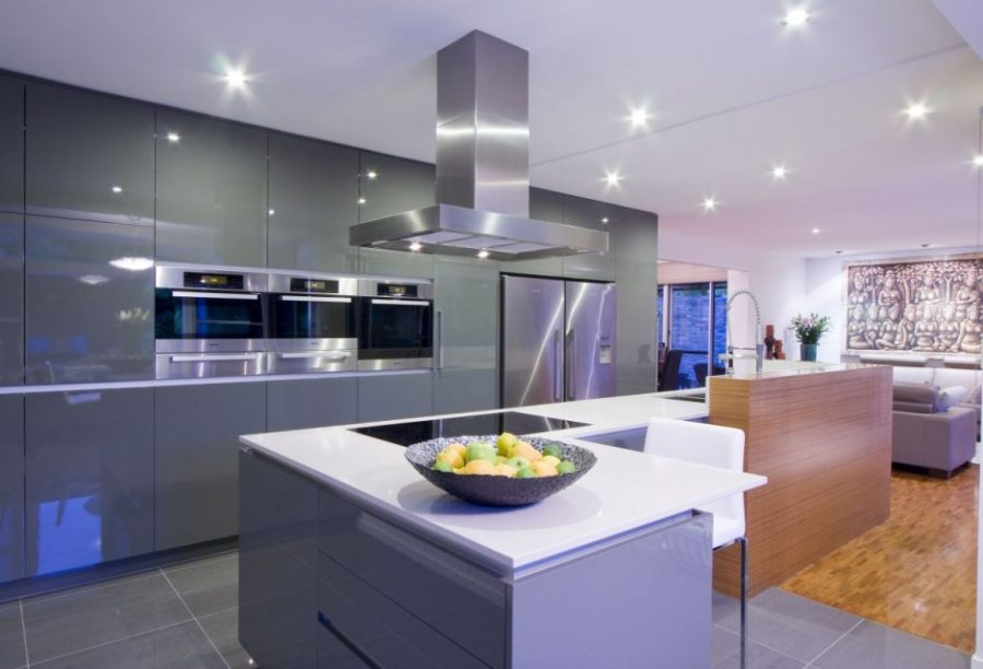 View in gallery Darren James contemporary glossy kitchen cabinets