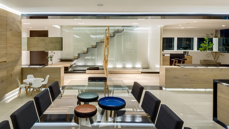 Dining room in a penthouse in Mexico City