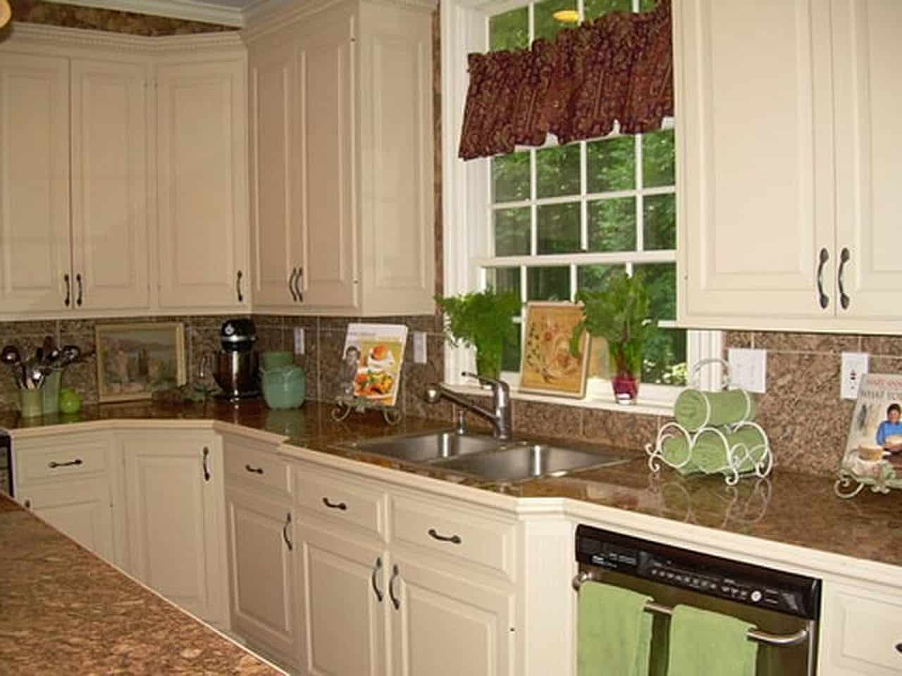 Espresso Cabinets with White Countertops