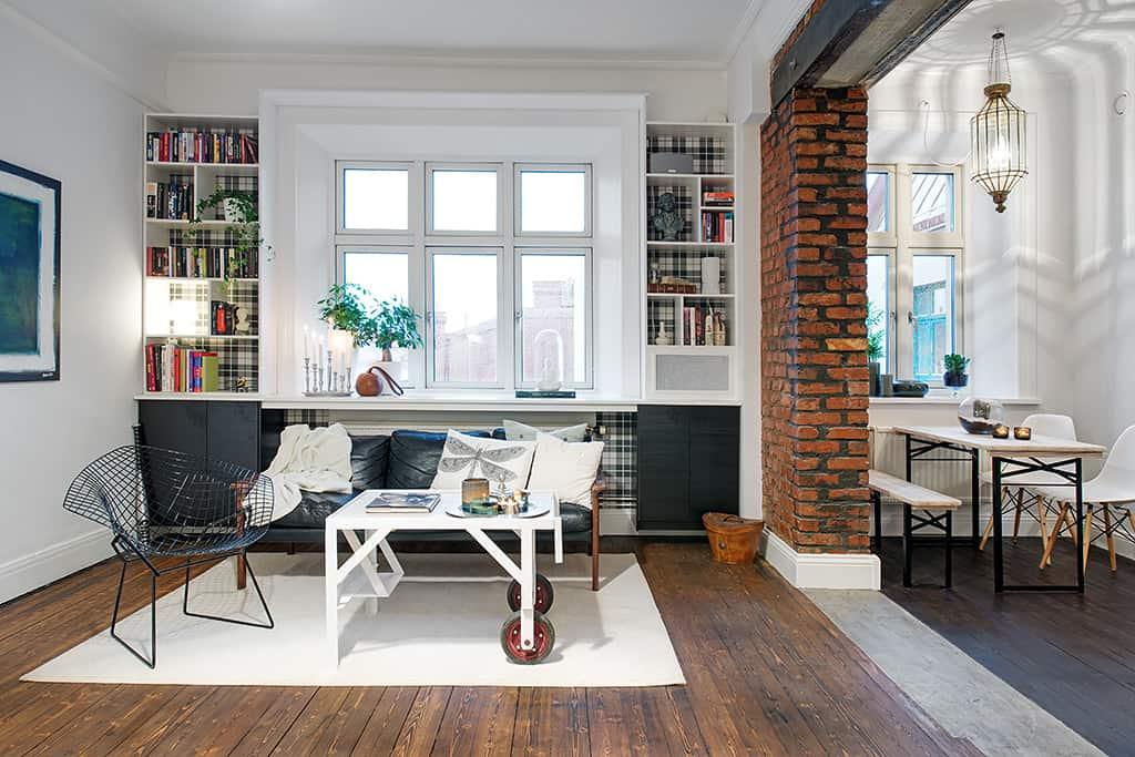 Exposed brick Scandinavian interior