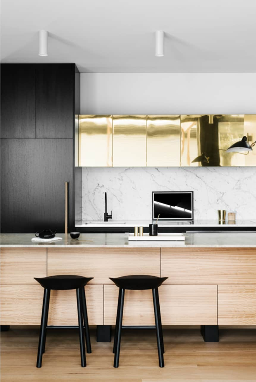Gold metallic kitchen cabinets