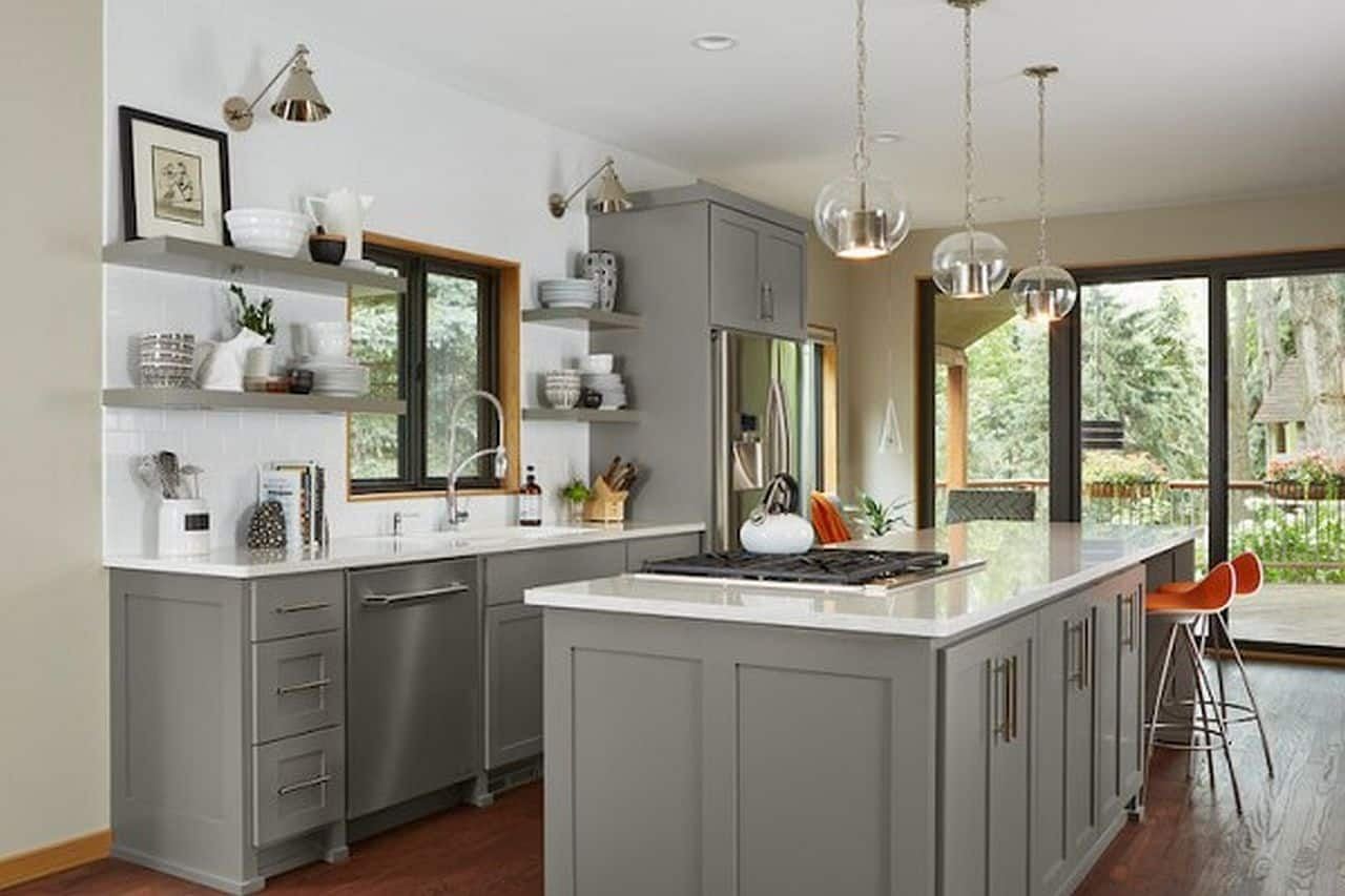 Gray Green and White with Cream Kitchen