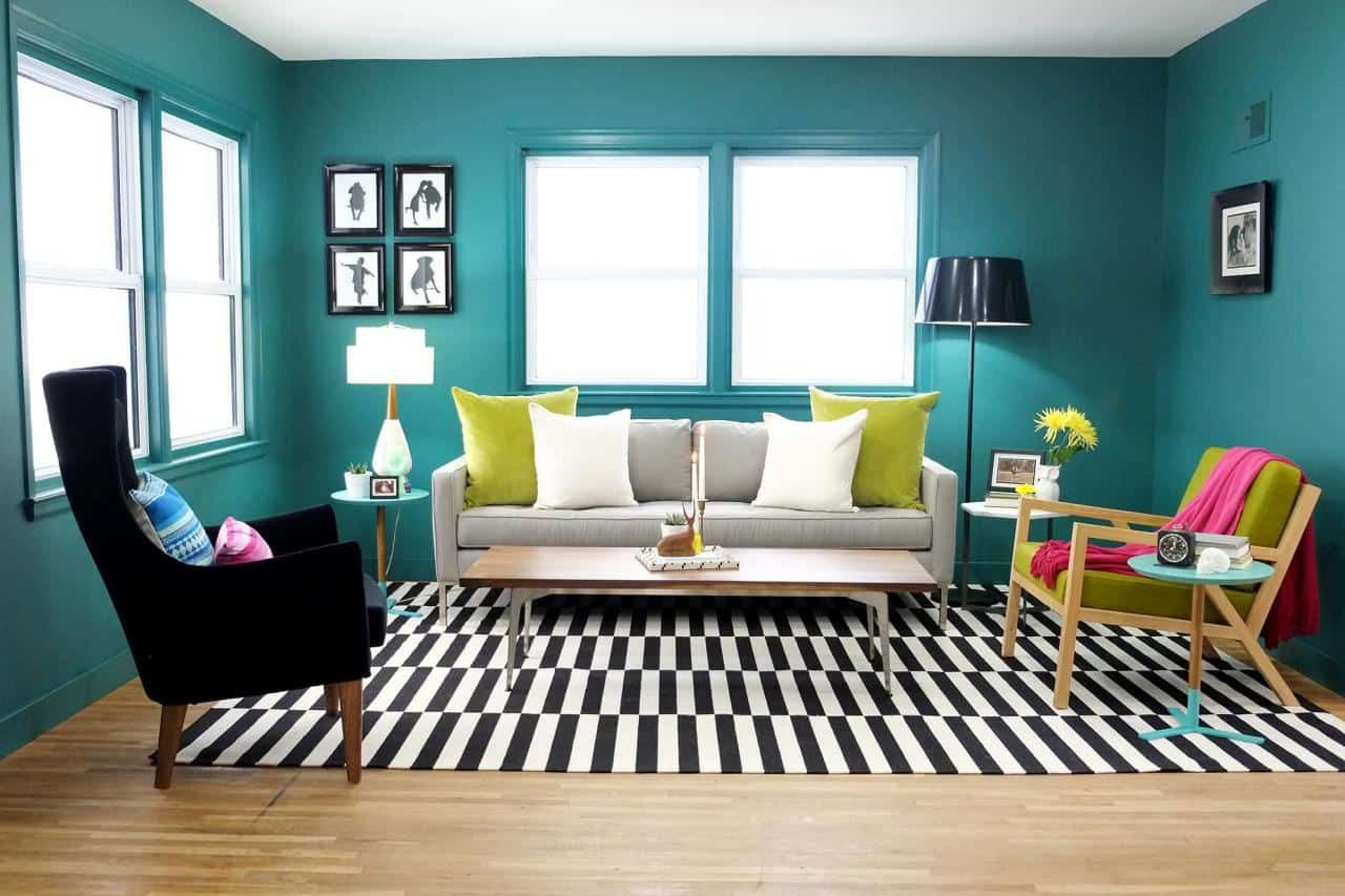 Green Teal and Black and white living room