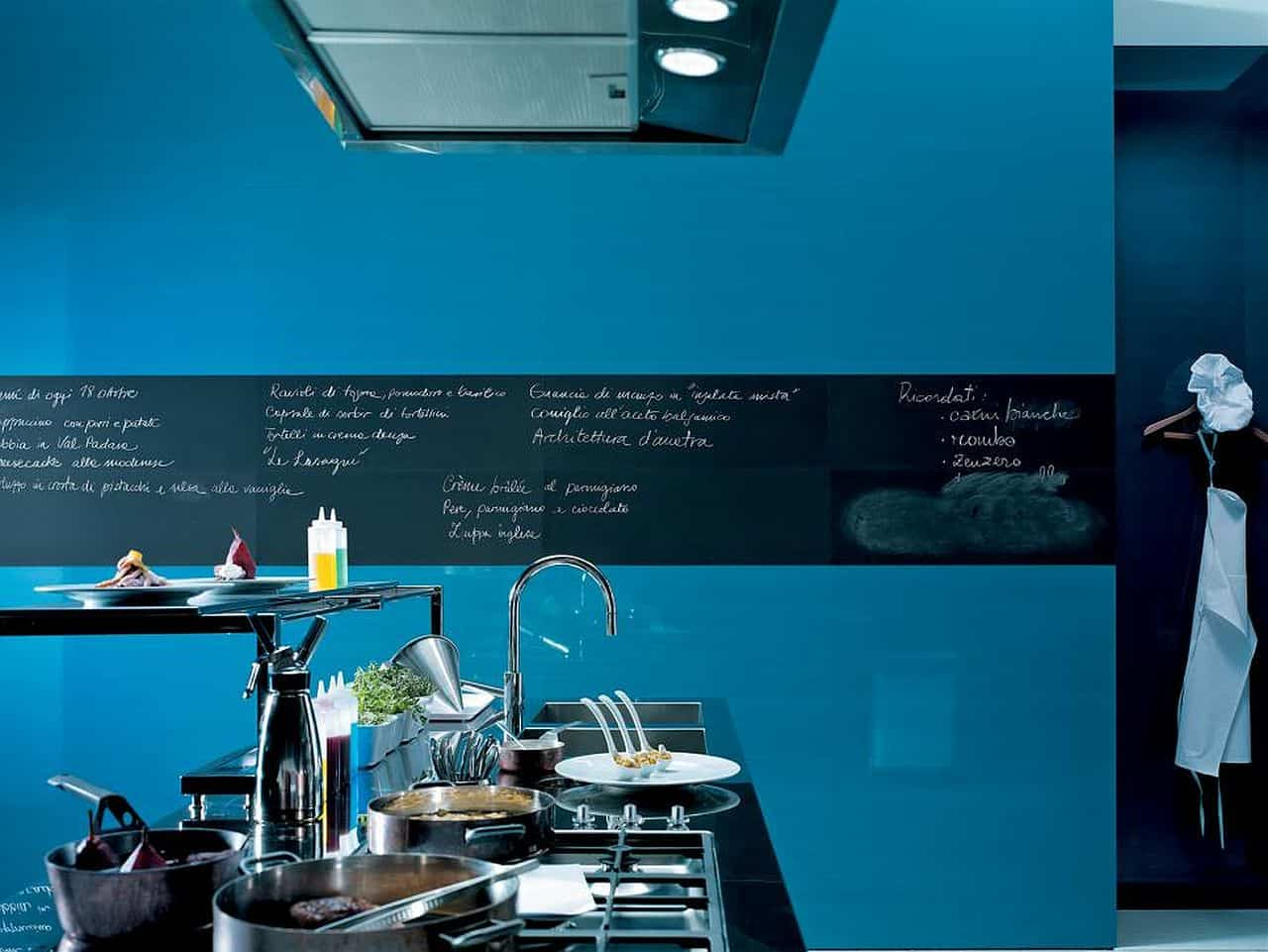 High Gloss Blue Tile with Chalkboard Border