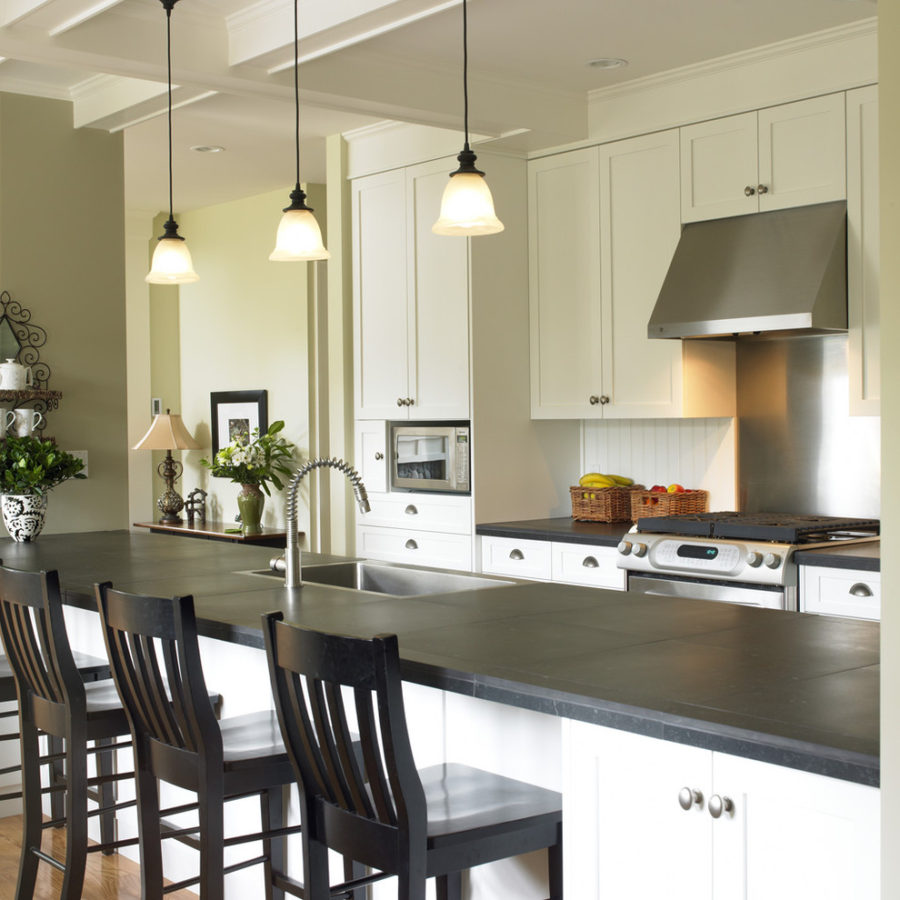 View in gallery Honed slate kitchen countertops
