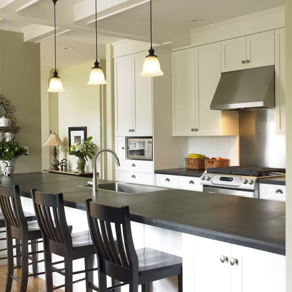 Honed slate kitchen countertops