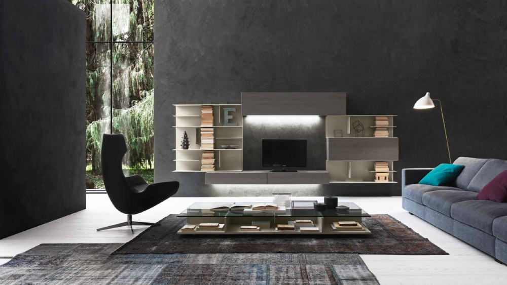 I-modulART entertainment wall system by Presotto