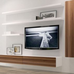 Floating Media Center Designs For ClutterFree Living Room - Built in media center designs