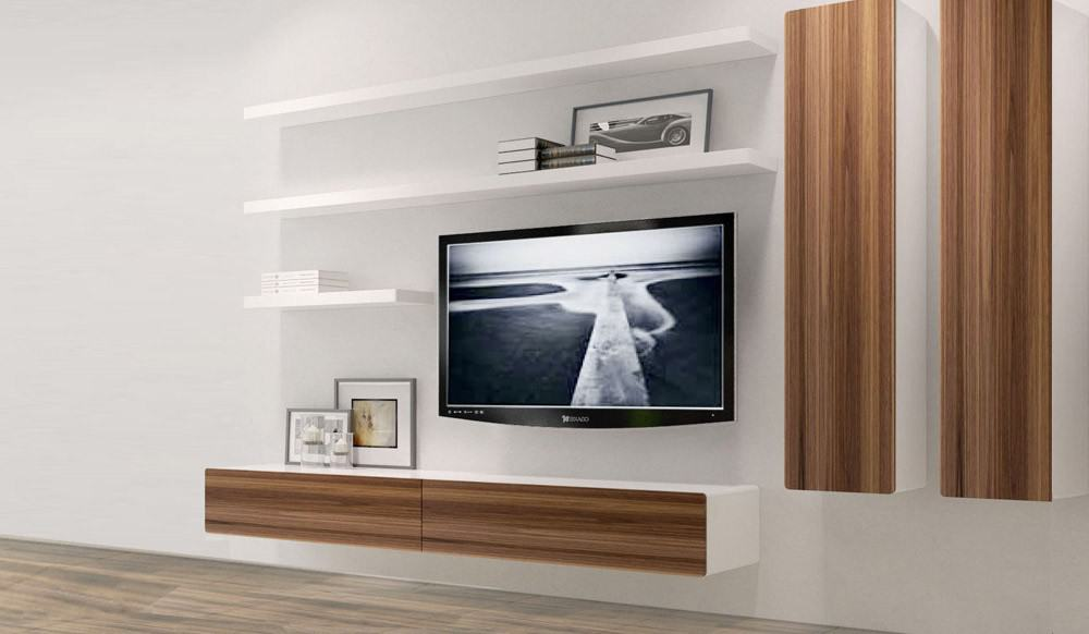 21 floating media center designs for clutter free living room for Floating tv stand living room furniture