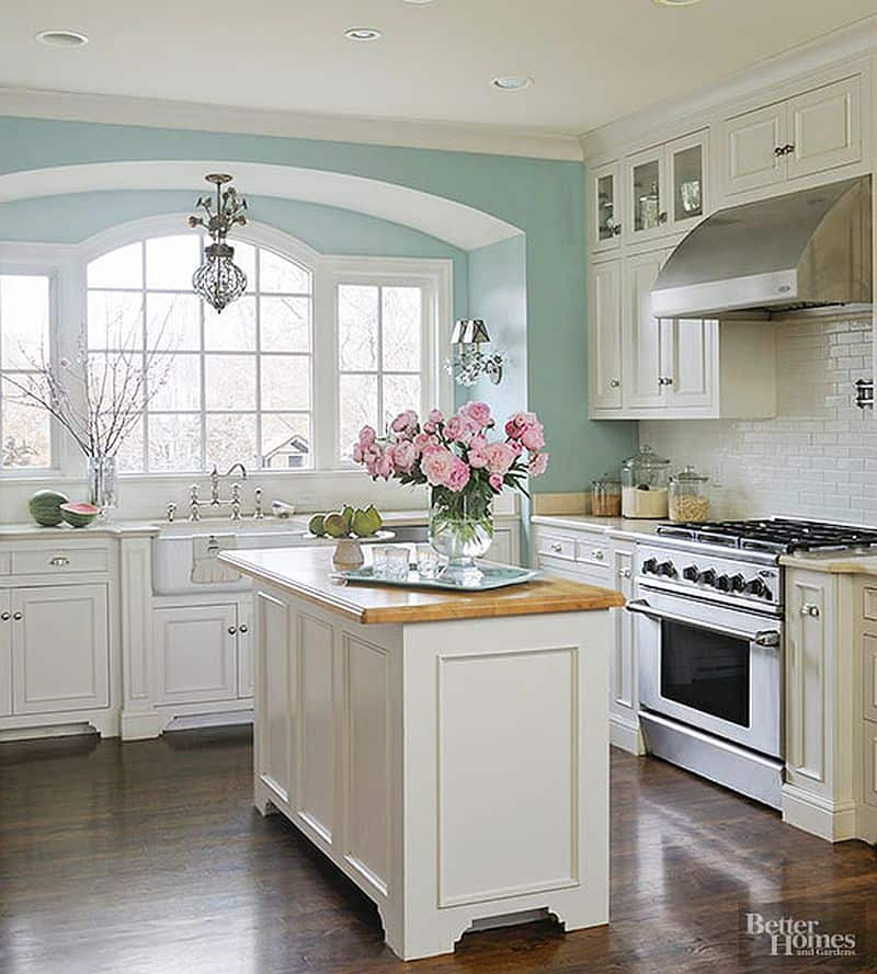Kitchen colors color schemes and designs for Spraying kitchen cabinets white
