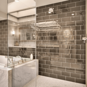 Mirror shower tiles 285x285 Shower Tile Designs for Each and Every Taste