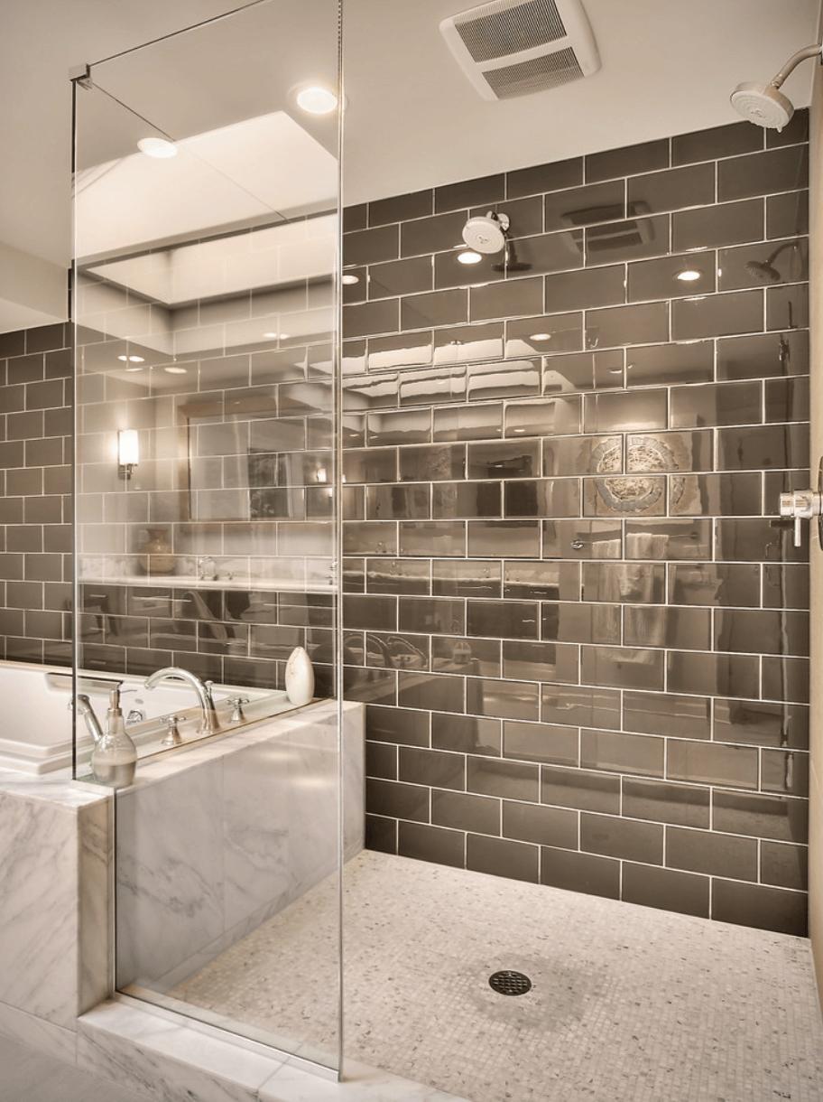Mirror shower tiles