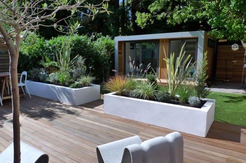 Modern garden with a pod