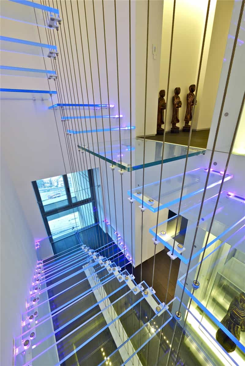 Neon lights in a Sky Penthouse staircase