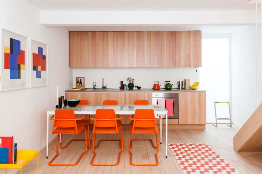 Orange Blue and Wood Room