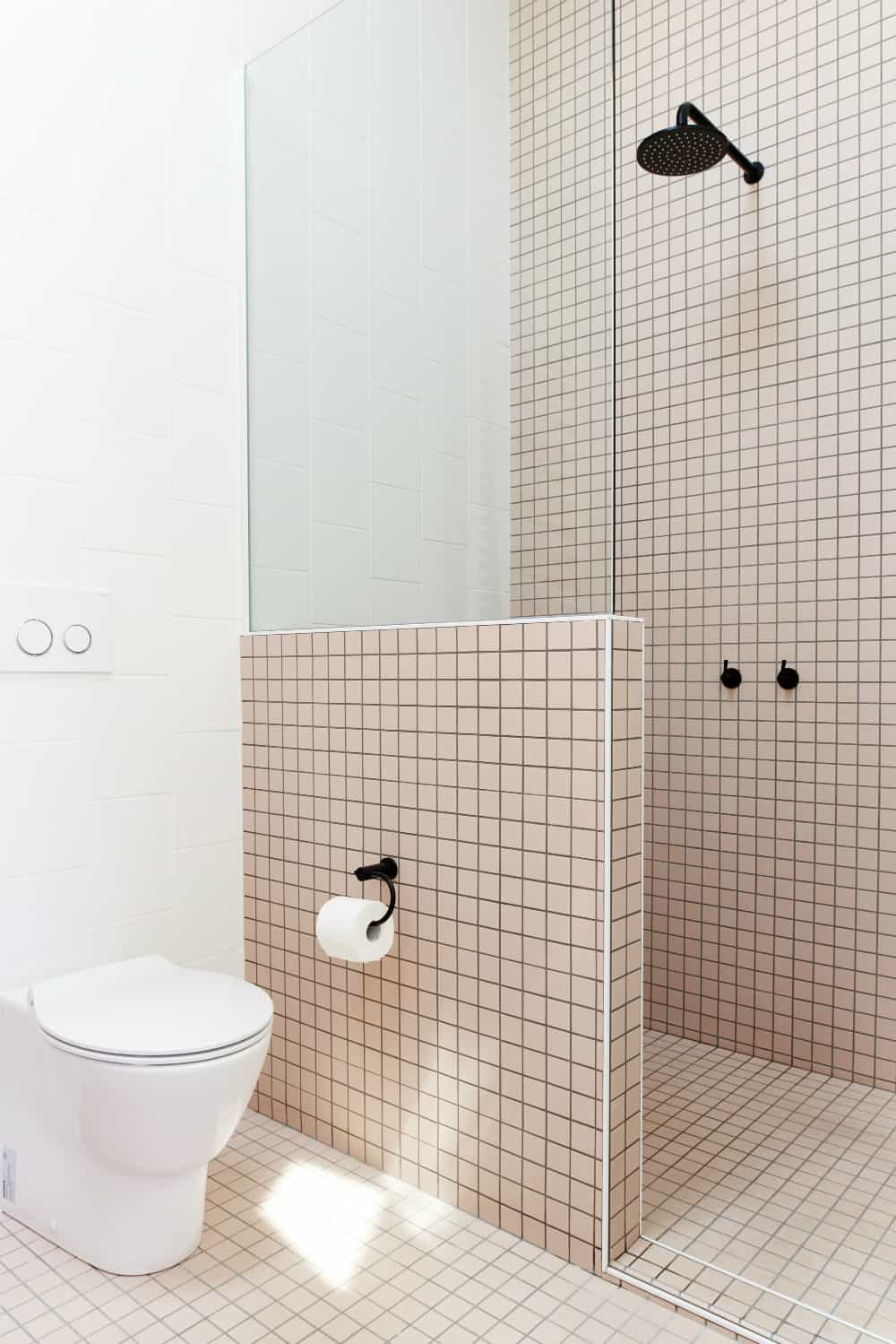 Pink square tiles