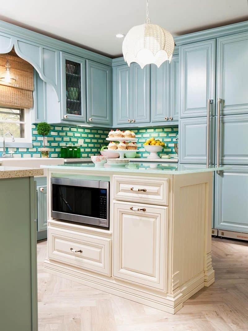 Powder Blue Kitchen with Blue Green White Fused glass tile backsplash
