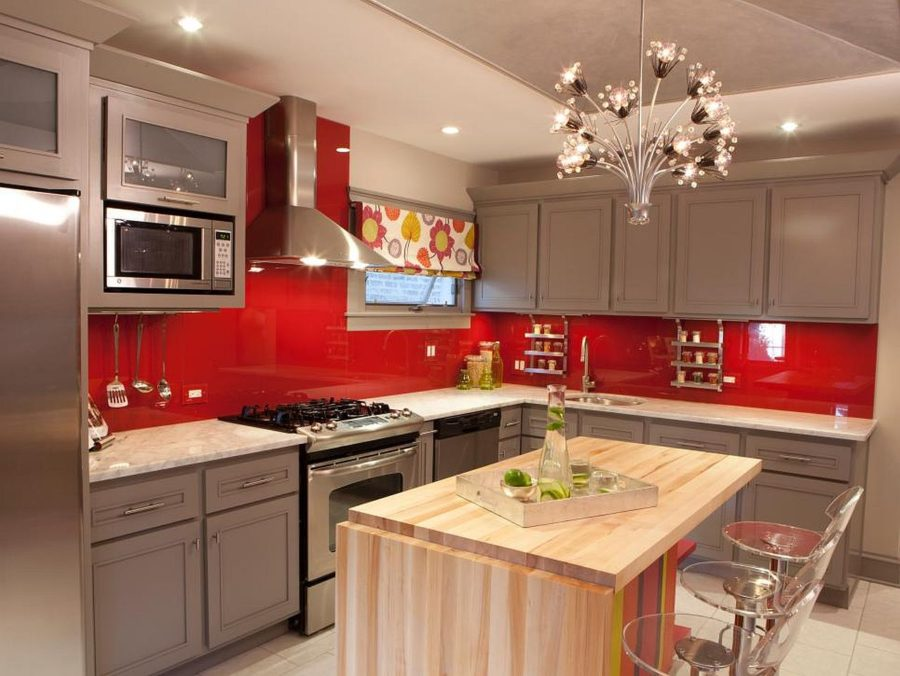 View In Gallery Red And Gray Kitchen With Butcher Block Island
