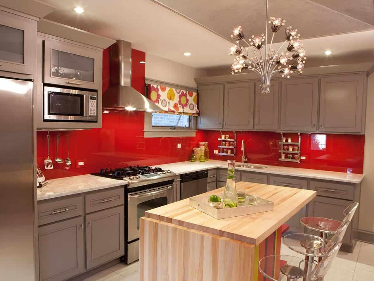 Red and Gray Kitchen with Butcher block Island