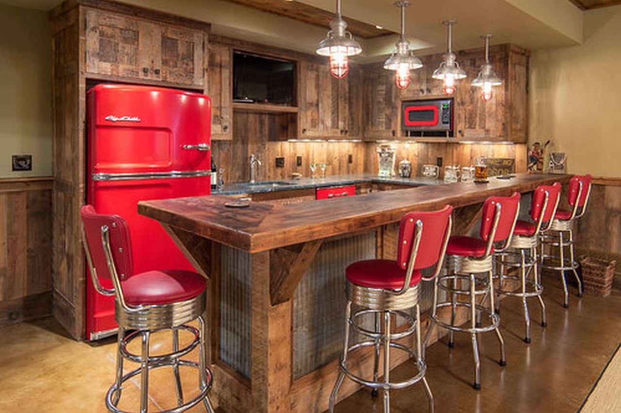 Rustic Kitchen with Cherry Red Appliances
