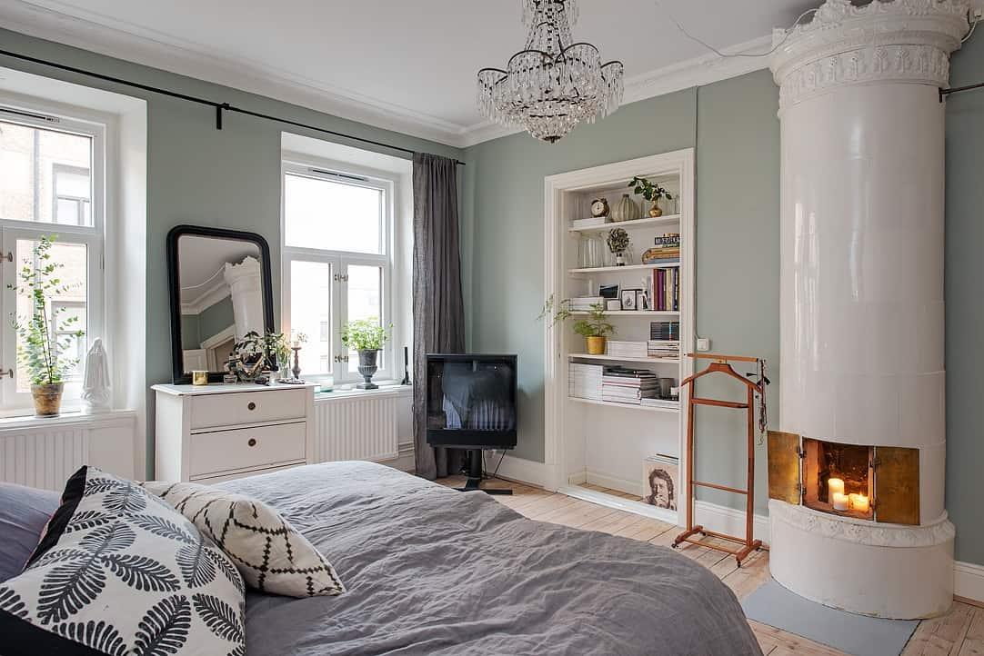 Scandinavian apartment in mint color