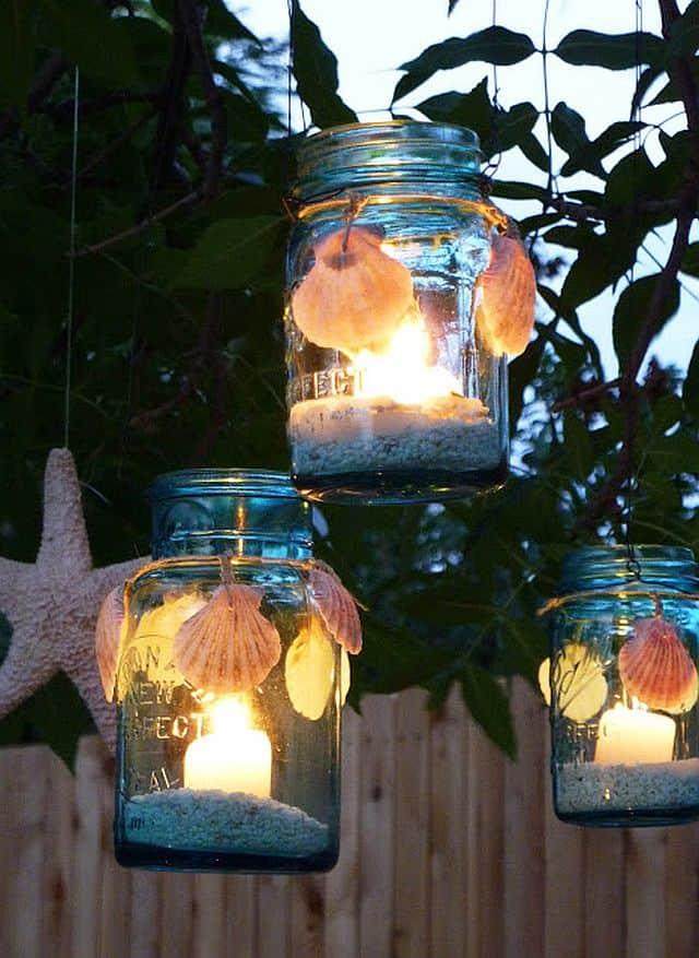 Seashell Votives lit