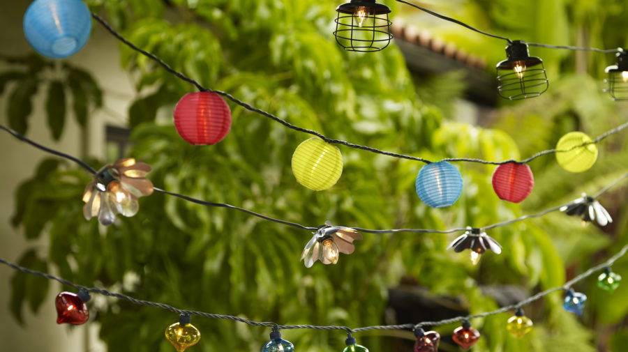 021913-outdoor-party-lights; transitional style; outdoor; party lights; 64148 glass party light; 92368 flower party light; 92197 lantern party lights have been changed to Y7366; 81203 industrial lantern party light