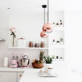 Subtle Pink Kitchen 285x285 Decorating With Pink Accents: 20 Ways to Create This Look