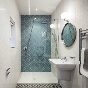 Subway tile in herringbone pattern 285x285 Shower Tile Designs for Each and Every Taste