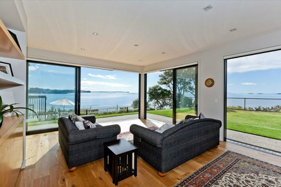 The living area faces the sea views