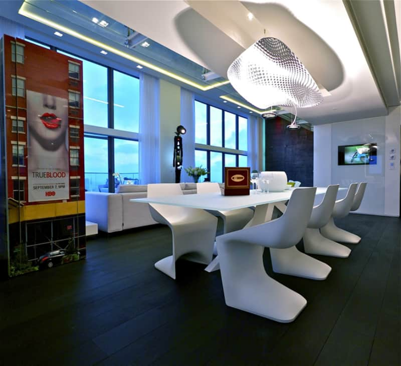 ultra modern dining room design in sky penthouse