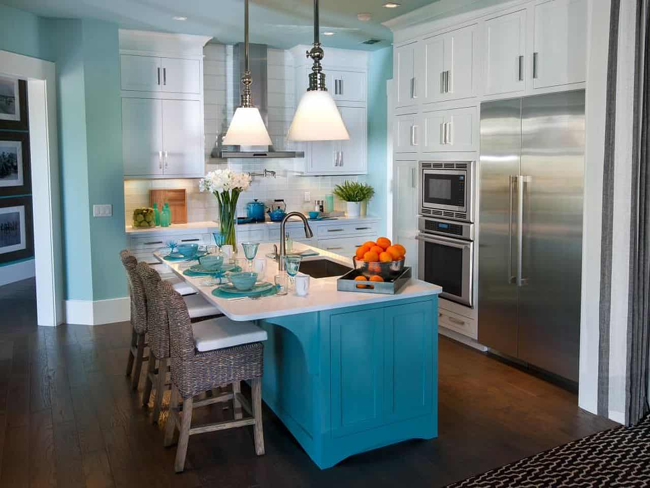 White Teal and Turquoise Kitchen