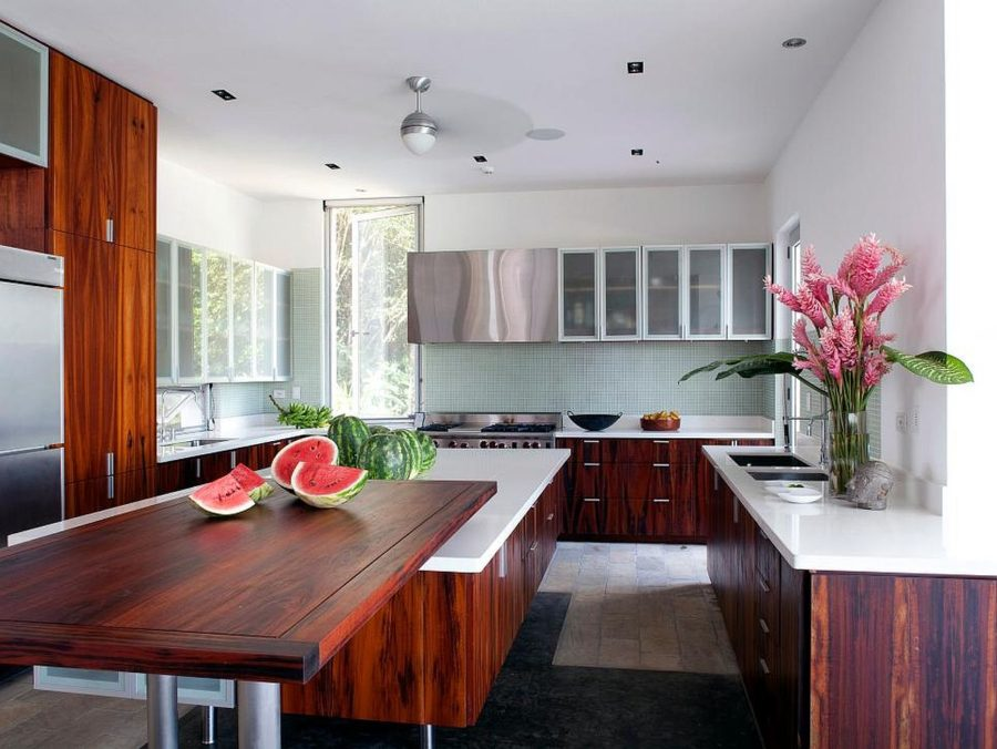View In Gallery White Kitchen With Cherry Cabinets