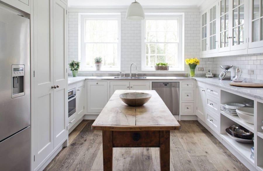 White u-shaped kitchen