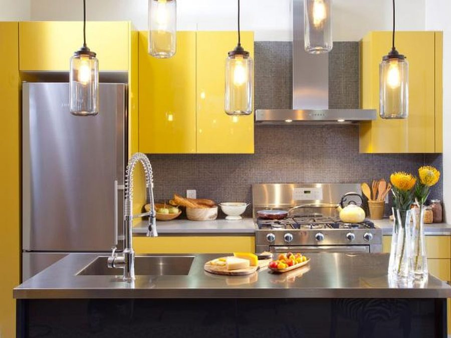 Yellow Kitchen with Stainless Steel