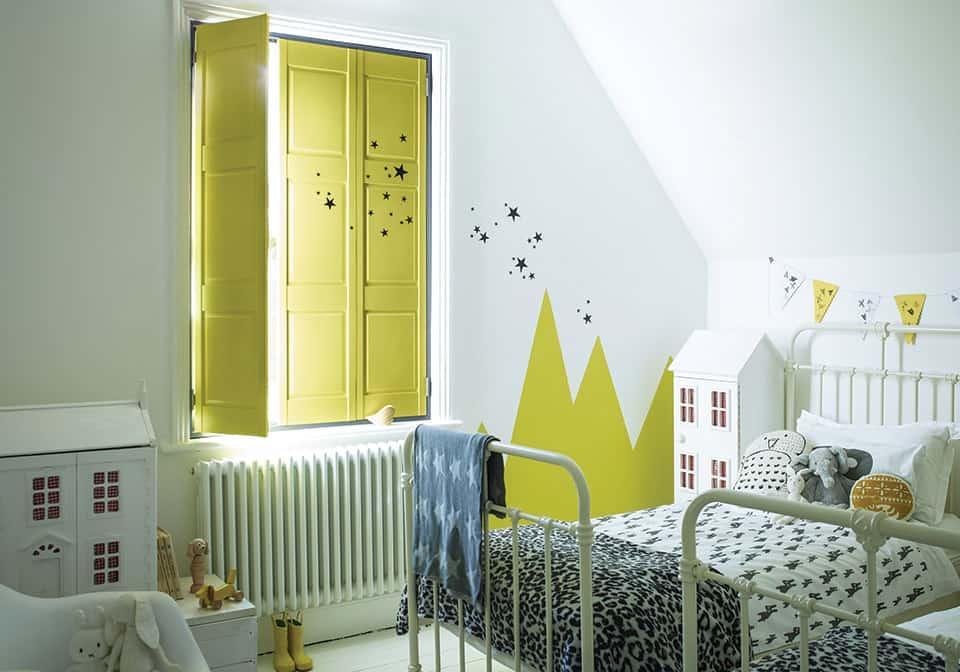 Yellow kid's room shutters