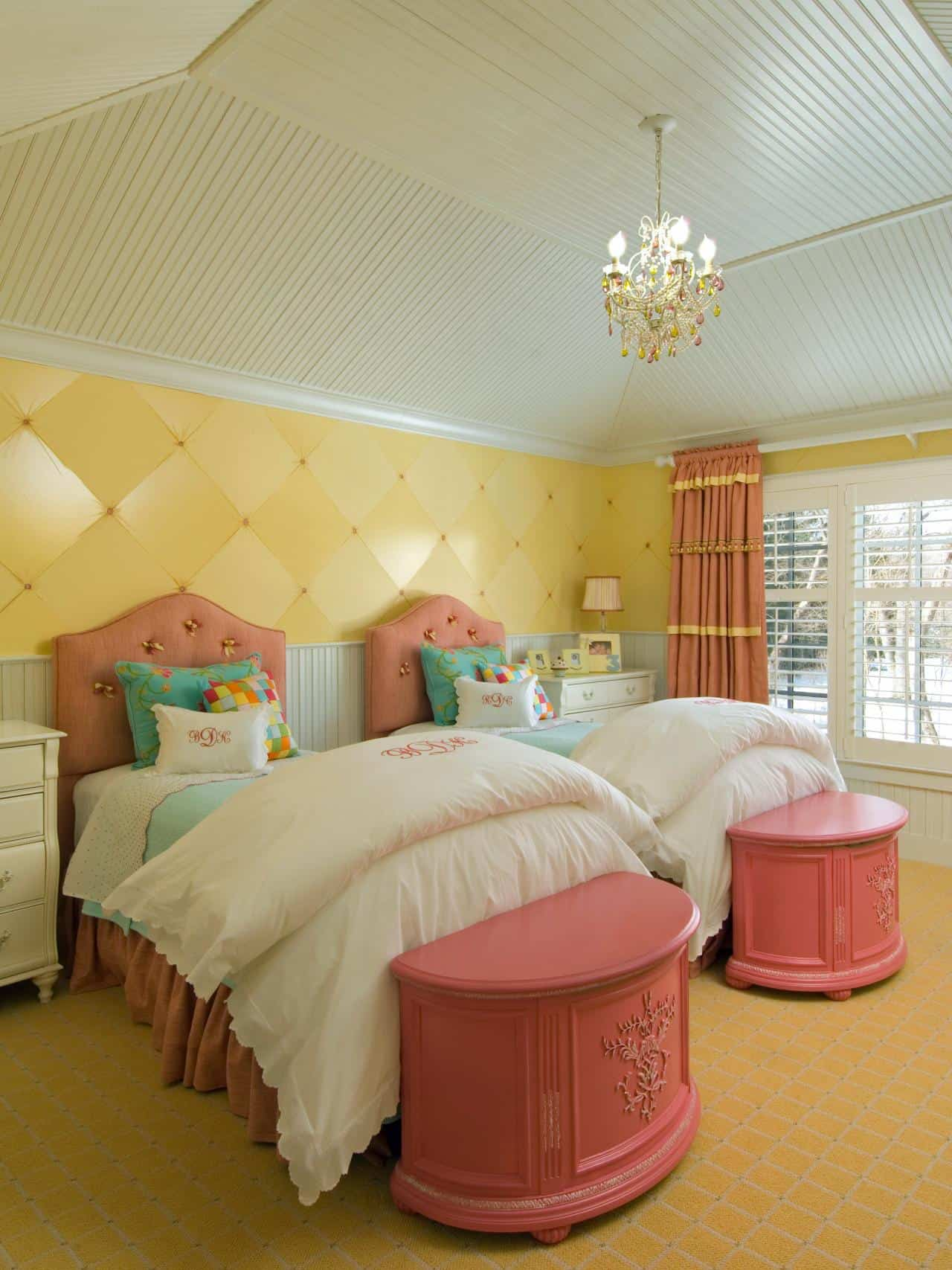 beige, yellow and pink room