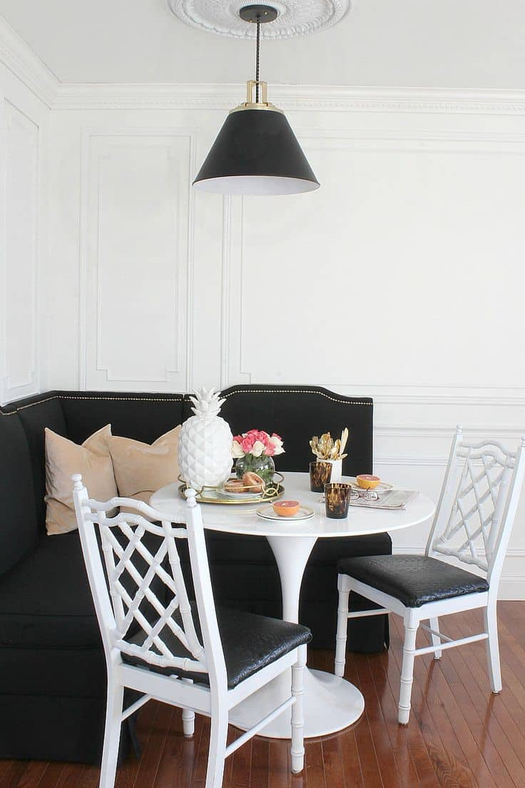 black and white breakfast room