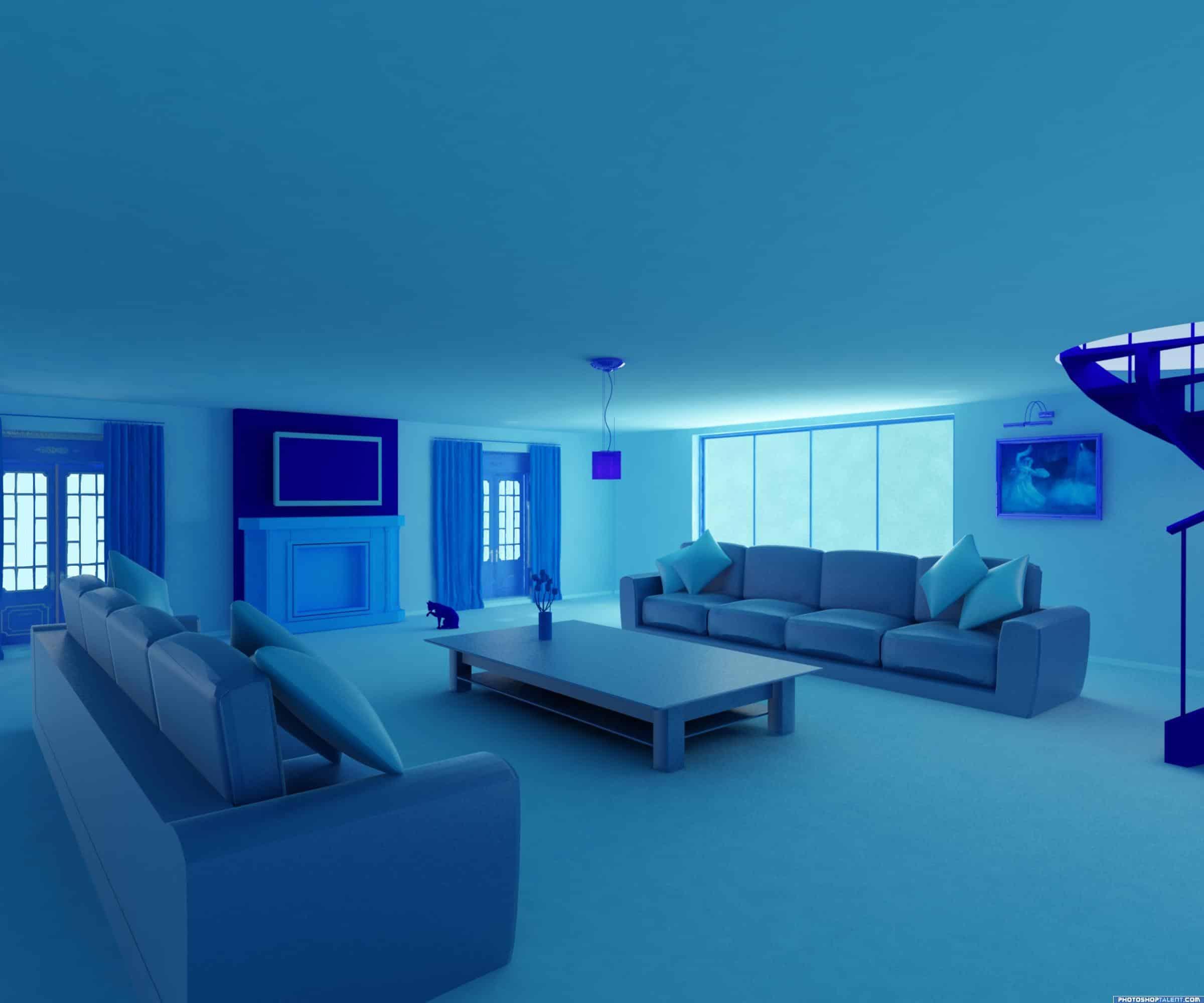 blue room shades
