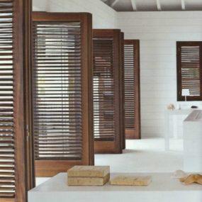 dark wood indoor shutters