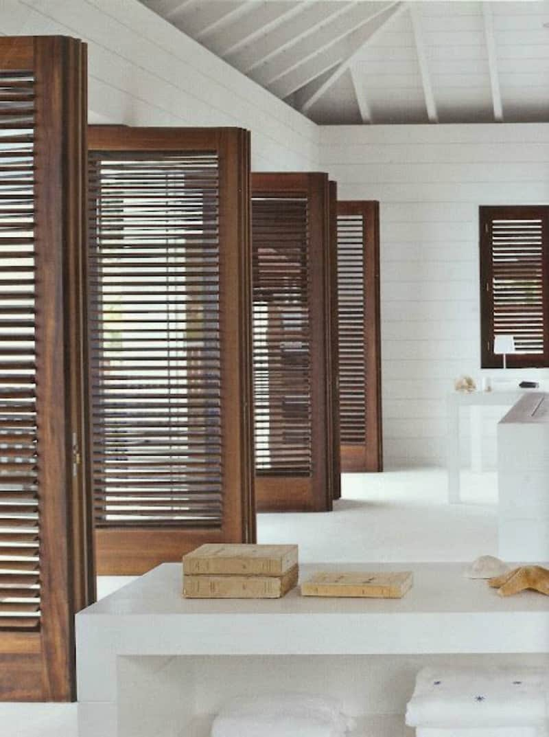 dark wood indoor shutters