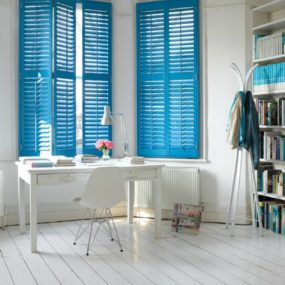 greek blue interior shutters 285x285 Fresh Summer Looks on Modern Shutters