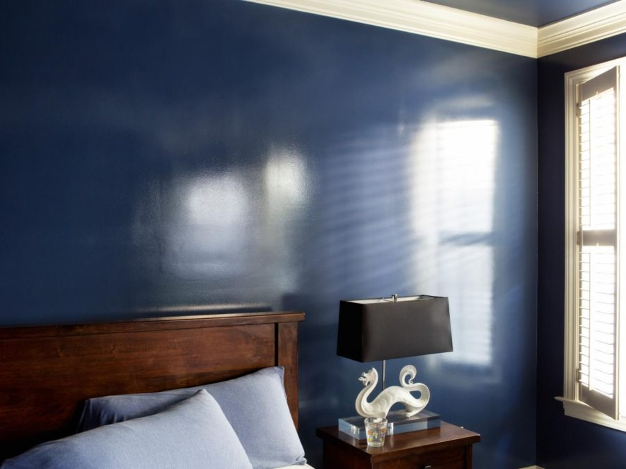 high gloss blue wall